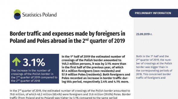 Border traffic and expenses made by foreigners in Poland and Poles abroad in the 2nd quarter of 2019